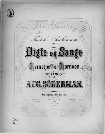 "Söderman's first song collection ""Digte og sange""."