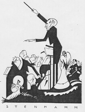 Stenhammar conducting. Drawing by Einar Nerman.